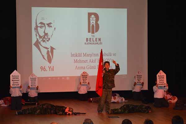 Belen'de İstiklal Marşının Kabulü ve Mehmet Akif Ersoy Anma Günü Kutlandı