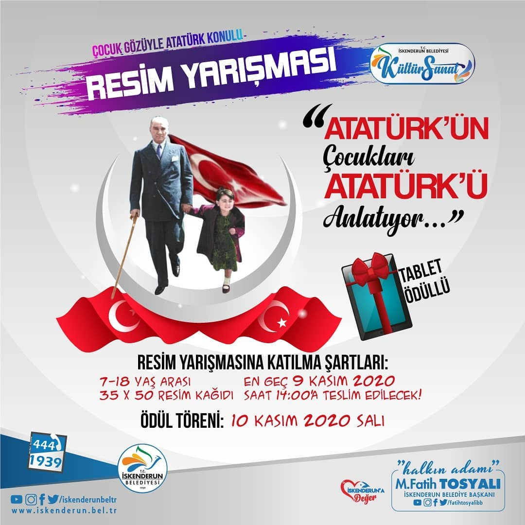 """İskenderun Belediyesinden """"Çocuk Gözüyle Atatürk"""" Konulu Resim Yarışması"""